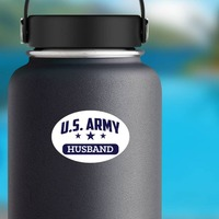 US Army Husband Oval Sticker on a Water Bottle example