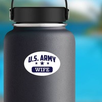 US Army Wife Oval Sticker on a Water Bottle example