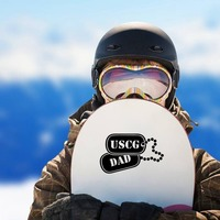 US Coast Guard Dad Dog Tags Sticker on a Snowboard example