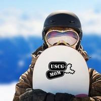 US Coast Guard Mom Dog Tags Sticker on a Snowboard example