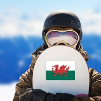 Wales Flag Sticker on a Snowboard example