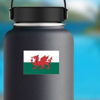 Wales Flag Sticker on a Water Bottle example