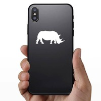 Walking Rhinoceros Sticker on a Phone example