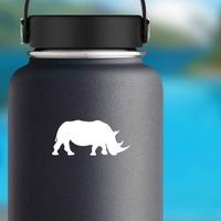Walking Rhinoceros Sticker on a Water Bottle example