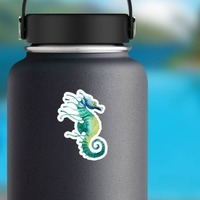 Watercolor Seahorse Sticker on a Water Bottle example