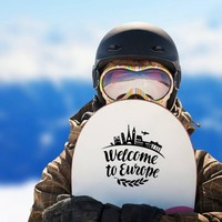 Welcome To Europe Sticker on a Snowboard example