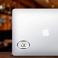 West Virginia Wv State Flag Oval Sticker on a Laptop example