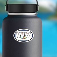 West Virginia Wv State Flag Oval Sticker on a Water Bottle example