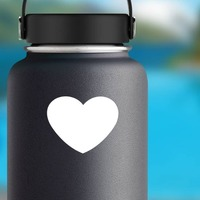 Wide Heart Shape Sticker on a Water Bottle example