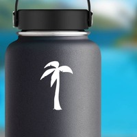 Wind Blowing On Palm Tree Sticker on a Water Bottle example