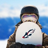 Winged Running Shoe Sticker on a Snowboard example