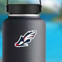 Winged Running Shoe Sticker on a Water Bottle example
