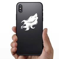 Wolf Coyote Dog Face Howling Sticker on a Phone example