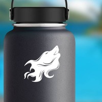 Wolf Coyote Dog Face Howling Sticker on a Water Bottle example