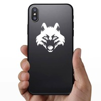 Wolf Coyote Dog Head Sticker on a Phone example