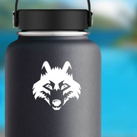 Wolf Coyote Dog Head Sticker on a Water Bottle example