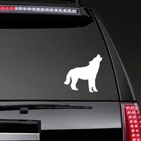 Wolf Coyote Howling Sticker on a Rear Car Window example