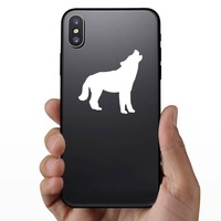 Wolf Coyote Howling Sticker on a Phone example