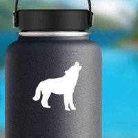 Wolf Coyote Howling Sticker on a Water Bottle example