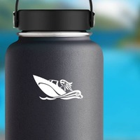 Woman Boating Sticker on a Water Bottle example