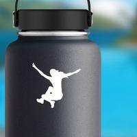 Women's Long Jump Sticker on a Water Bottle example