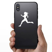 Women Sprinting Sticker on a Phone example