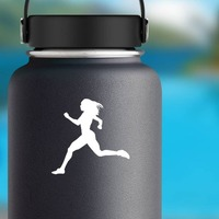 Women Sprinting Sticker on a Water Bottle example