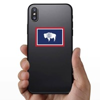 Wyoming Wy State Flag Sticker on a Phone example