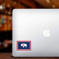 Wyoming Wy State Flag Sticker on a Laptop example