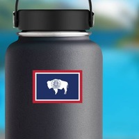 Wyoming Wy State Flag Sticker on a Water Bottle example