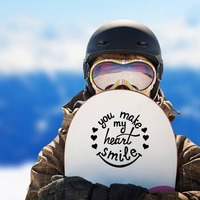 You Make My Heart Smile Hippie Sticker on a Snowboard example