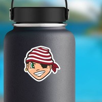 Young Pirate Mascot Sticker on a Water Bottle example
