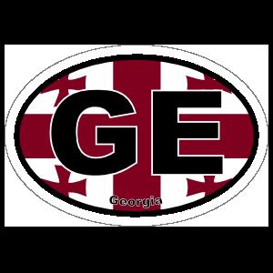 Georgia Ge Flag Oval Sticker