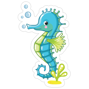 Blue Seahorse Blowing Bubbles
