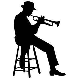 Sitting Musical Trumpet Player Sticker