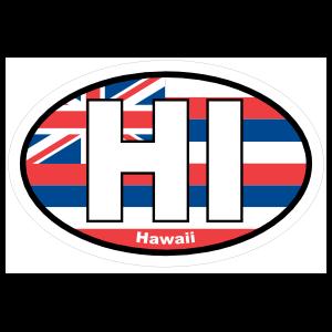 Hawaii Hi State Flag Oval Magnet