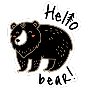 Hello Bear Camping Sticker