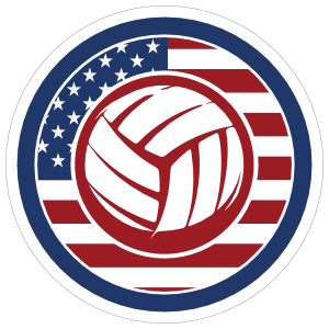 Red White and Blue Volleyball Circle Sticker