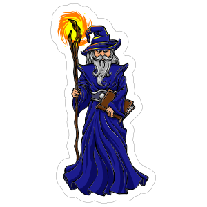 Blue Robed Wizard Sticker