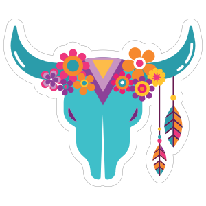 Blue Skull with Feathers and Flowers Hippie Sticker