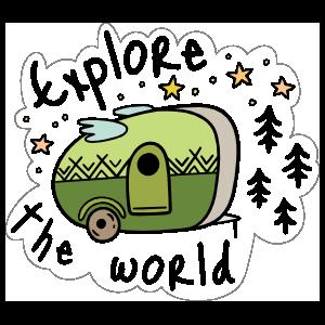 Explore The World Camping Sticker