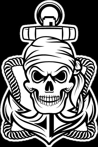Bandana Skull Pirate on Anchor Sticker