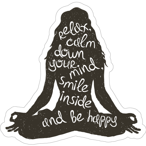 Relax, Be Calm and Smile Yoga Sticker