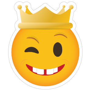 Phone Emoji Sticker Crown Winking