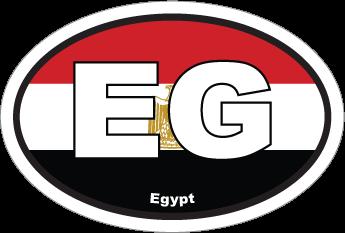Egypt Eg Flag Oval Sticker