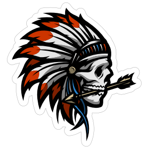 Skull With Headdress And Arrow Sticker