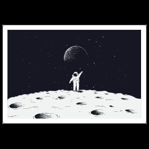 Astronaut Waving On Moon Sticker