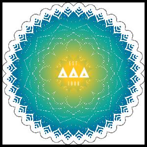 Yellow and Blue Delta Delta Delta mandala Sticker