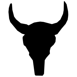 Short Bull Cow Horns Skull Sticker
