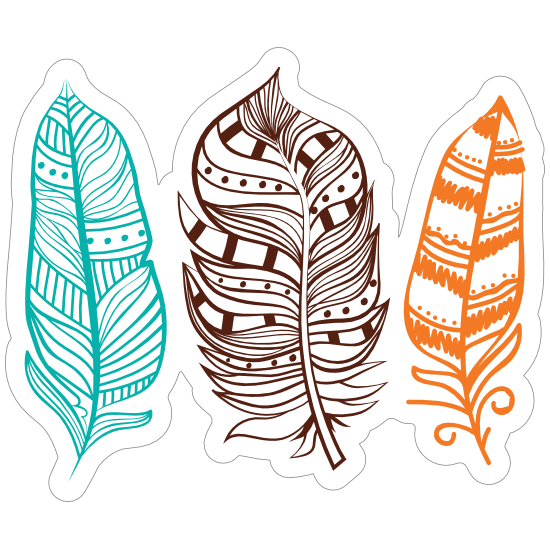 3 Colorful Feathers Sticker